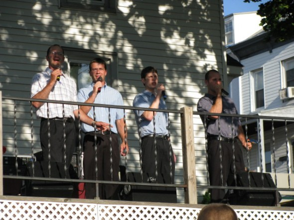 "The GOP singing on the deck of the ""Lighthouse"" at Fairivew on a Sun. night"