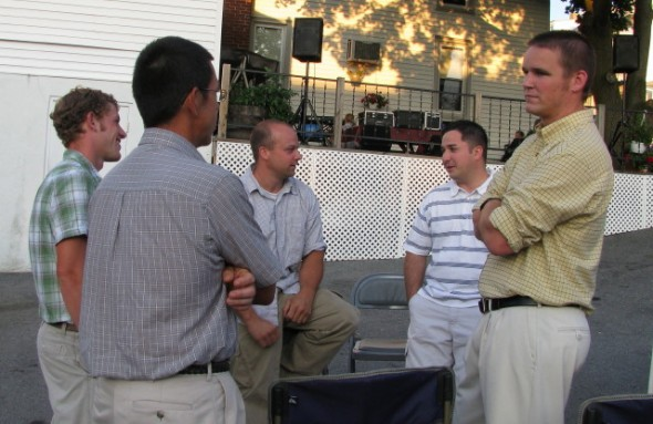 (L to R) Harry, Kevin, Ken, Ralli....chatting after the service