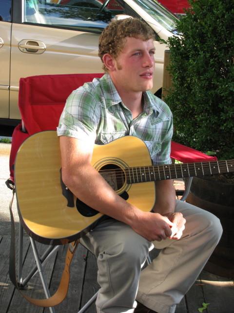 Steve Petersheim takes a break from the guitar