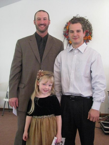 Pastor Nick with Jason and a little friend