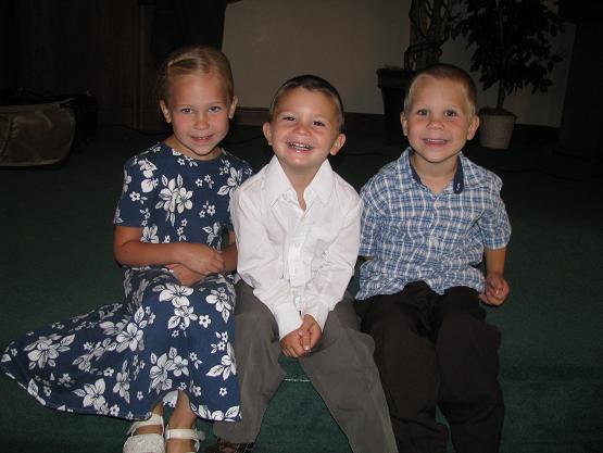 All ready for church Sunday morning; Chrissy (Daryl's), Marshall (Brian's), and Jake (Daryl's)