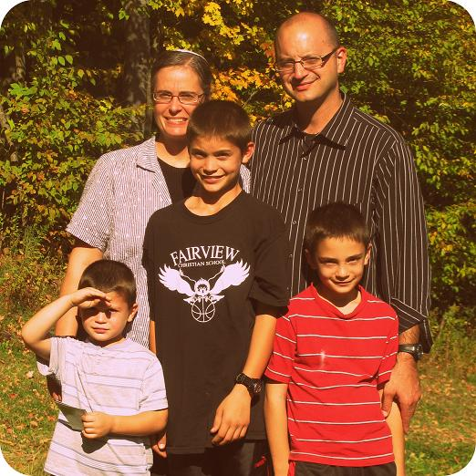 Brian's abbreviated family (his three girls were absent on this trip); Brian, Sheryl, and boys l to r: Marshall, Bryce, and Blake