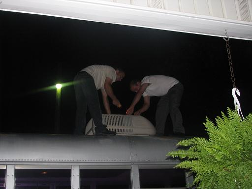 Air-conditioning unit was raining down on us the whole trip, so Jason and Daryl did some repair work on it before the return trip home.