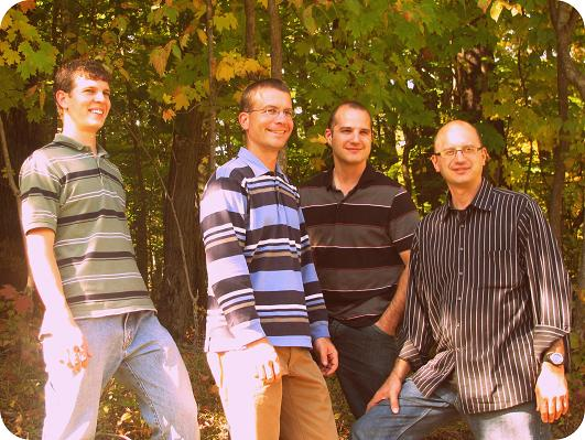 From l to r: Danny Petersheim, baritone; Daryl Petersheim, lead; Jason Fox, bass; Brian Fox, tenor